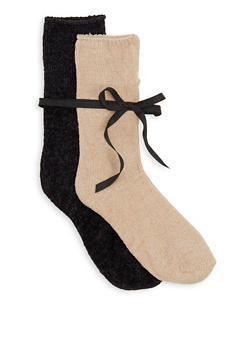 2 Pair Solid Chenille Socks - 3148041452015