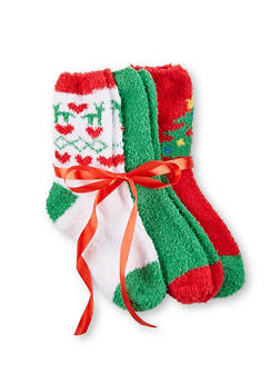 Set of 3 Fuzzy Christmas Socks - GREEN - 3148064871810