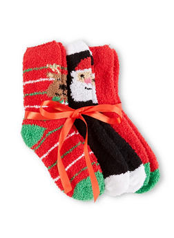 Set of 3 Fuzzy Christmas Socks - RED - 3148064871810