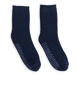 Solid Knit Slipper Socks - NAVY - 3148068060902