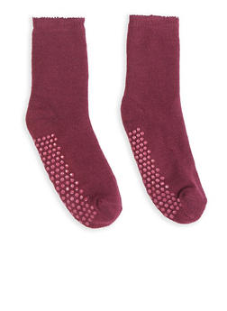 Solid Knit Slipper Socks - WINE - 3148068060902