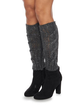 Leg Warmers with Shimmer Knit - CHARCOAL - 3149068061105
