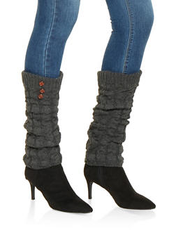 Cable Knit Leg Warmers - GRAY - 3149068064473