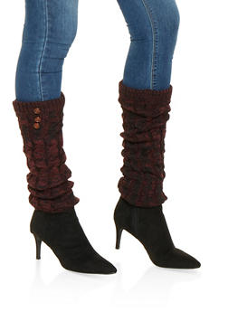 Cable Knit Leg Warmers - WINE - 3149068064473