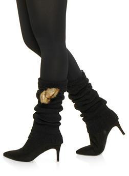 Faux Fur Pom Pom Leg Warmers - BLACK - 3149068065555