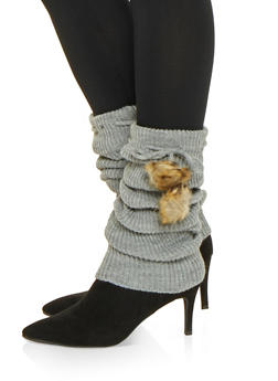 Faux Fur Pom Pom Leg Warmers - GRAY - 3149068065555