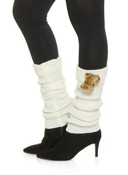 Faux Fur Pom Pom Leg Warmers - WHITE - 3149068065555