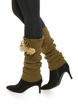 Faux Fur Pom Pom Leg Warmers - OLIVE - 3149068065555