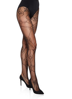 Fishnet Footed Tights - BLACK/WHITE - 3150041456880