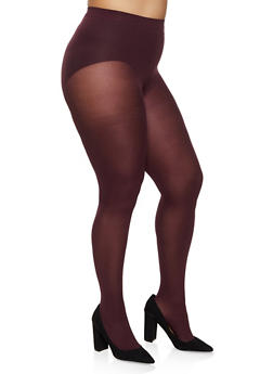 Plus Size Solid Opaque Tights - 3150041459802