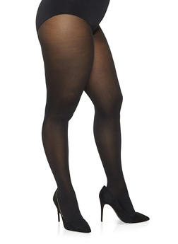 Plus Size Solid Tights - BLACK - 3150068065500