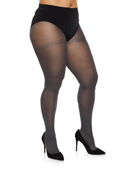 Plus Size Opaque Footed Tights - GRAY - 3150068066541