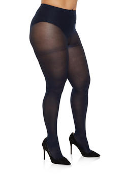 Plus Size Opaque Footed Tights - NAVY - 3150068066541