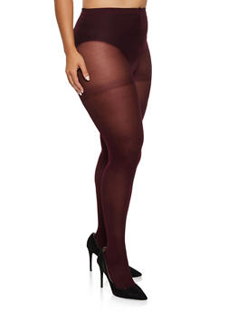 Plus Size Opaque Footed Tights - BURGUNDY - 3150068066541
