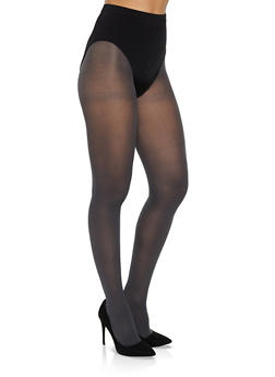 Solid Opaque Footed Tights - GRAY - 3150068066542