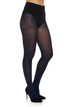 Solid Opaque Footed Tights - NAVY - 3150068066542