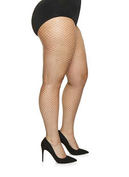 Plus Size Patterned Fishnet Tights - BLACK/WHITE - 3150068067716