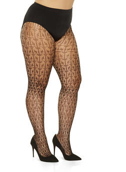 Plus Size Patterned Fishnet Tights - 3150068067717