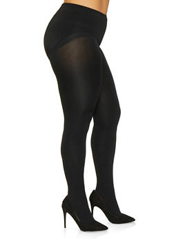 Plus Size Fleece Lined Footed Tights - 3150068068851
