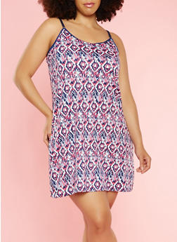 Plus Size Printed Teddy - 3151035160621