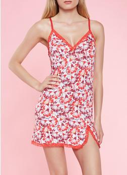 Floral Lace Trim Teddy - 3151035160674