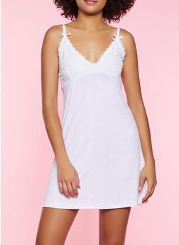 Lace Insert Printed Chemise - 3151035160725
