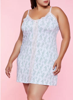 Plus Size Lace Insert Printed Chemise - 3151035160727