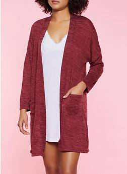 Open Front Marled Robe - 3151035160756