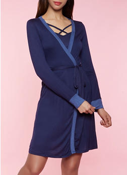 Two Tone Soft Knit Robe - 3151052310001