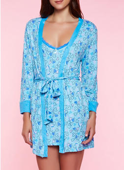 Heart Print Robe and Chamise - 3151052312929