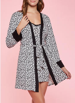 Soft Knit Animal Print Chemise and Robe Set - 3151052313131