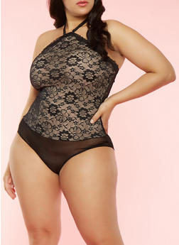 Plus Size Halter Neck Lace Bodysuit - 3151064870592
