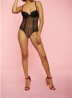 Lace and Mesh Keyhole Back Teddy - 3151064876201