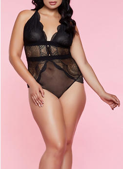 Plus Size Lace Mesh Racerback Teddy - 3151064877292