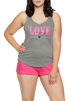 Plus Size Love Pajama Tank Top and Shorts Set - 3152035160318