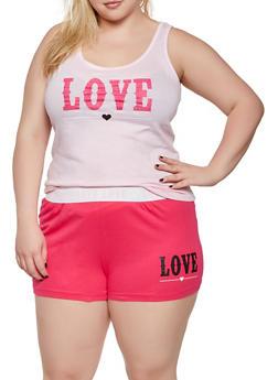 Plus Size Love Pajama Tank Top and Shorts Set - 3152035160318