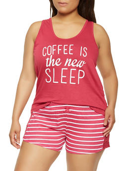 Plus Size Graphic Pajama Tank Top and Shorts - 3152035161502