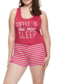 Plus Size Graphic Pajama Tank Top and Shorts - MAGENTA - 3152035161502