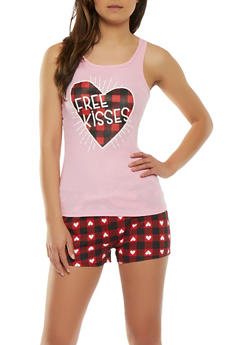 Free Kisses Graphic Pajama Set - 3152035161670