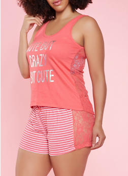 Plus Size Graphic Tank Top and Shorts Pajama Set - 3152035161728