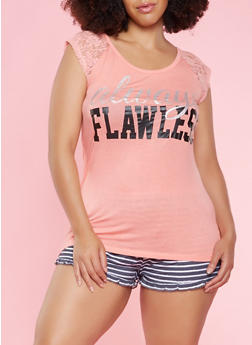 Plus Size Graphic Top and Shorts Pajama Set - 3152035161729