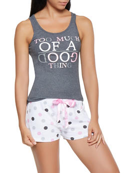 Graphic Tank Top with Polka Dot Pajama Shorts - 3152035162075