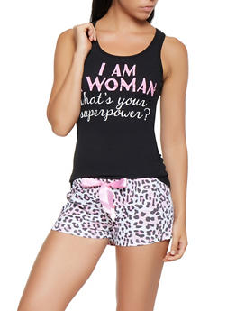 Graphic Tank Top and Printed Pajama Shorts - 3152035162076