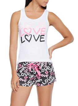 Love Graphic Tank Top and Shorts Pajama Set - 3152035162077