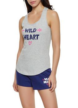 Wild Heart Pajama Tank Top and Shorts - 3152035162319