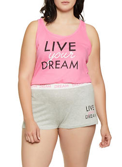 Plus Size Dream Graphic Pajama Tank Top and Shorts - 3152035163333