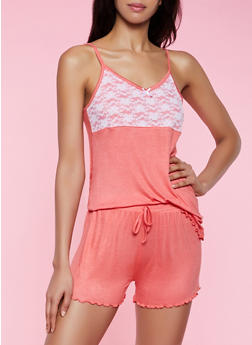 Lace Yoke Pajama Cami and Shorts Set - 3152052310007