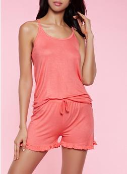 Keyhole Back Pajama Cami and Shorts Set - 3152052310013