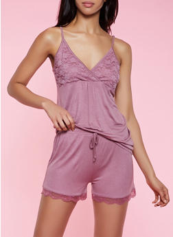 Lace Detail Pajama Cami and Shorts Set - 3152052310017