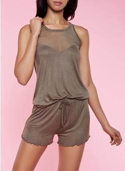 Mesh Detail Pajama Top and Shorts - 3152052310045